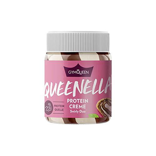GYMQUEEN Queenella 250g | Protein Creme mit 21,5% Eiweiß | Ohne Zuckerzusatz | Haselnusscreme mit weißer Schokolade | Brot-Aufstrich angereichert mit bestem Whey Protein | Swirly Duo