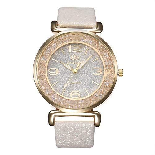 Weimay - Reloj de pulsera para mujer con diseño de arena flotante, de piel, acero inoxidable, analógico, de cuarzo