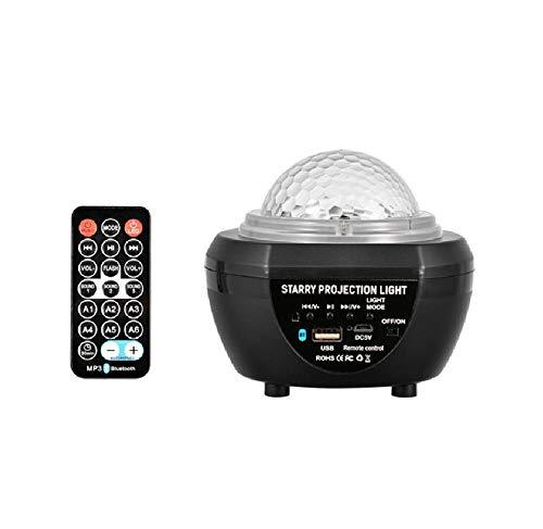 Lámpara de proyección de cielo estrellado para niños lámpara de patrón de agua 20 tipos de conversión de color compatible con reproducción de altavoz Bluetooth