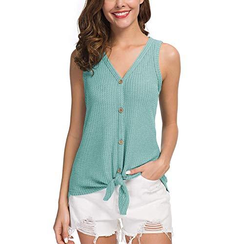 Joinfun Dames-blouse zonder mouwen, elegant shirt voor de zomer, sexy V-hals, tanktops, tops, T-shirt, dames, tuniek, top, casual, regular fit