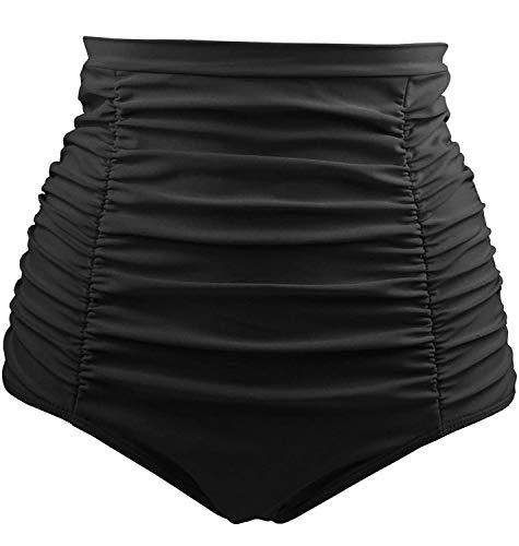Tempt Me Women's High Waisted Swim Bottom Black Shirred Bikini Tankini Swimsuit Briefs Tummy Control Swim Shorts M