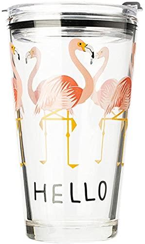 xqkj Vaso de cristal con tapa y pajita, 1 vaso de flamenco,...