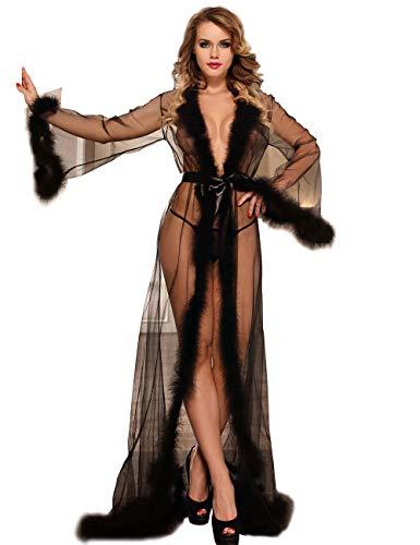ohyeahlady Spitze Kimono Feder Robe Durchsichtig Cardigan mit Gürtel Mode Bademantel Nachtwäsche Pyjamas für Damen(Schwarz,XL=EUR 40-42)