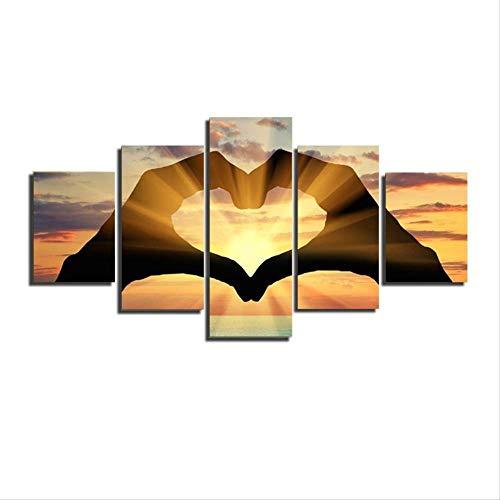 DGGDVP 5PC Love Sunset Shouying Carteles e Impresiones Cuadros Decoracion Dormitorio Arte de la Lona Arte de la Pared Pintura de la Pared tamaño 1 sin Marco