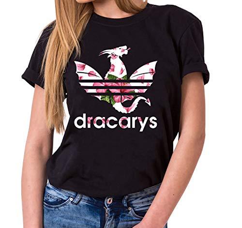 Dracarys Nahia - Camiseta para Mujer de Cuello Redondo Targaryen Thrones Game of Stark Lannister Baratheon Daenerys Khaleesi TV BLU-Ray DVD, Farbe2:Negro, Größe2:Large