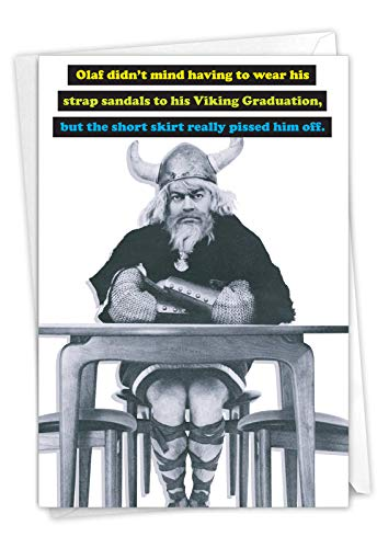Viking Graduation - Conquest Graduation Note Card with Envelope (4.63 x 6.75 Inch) – Real Men, Congratulations Card for Men, Students - Happy College Graduation Notecard 3845
