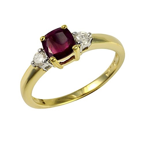 Ivy Gems 9ct Yellow Gold Ruby and Diamond Square Cut Solitaire Ring - Size O