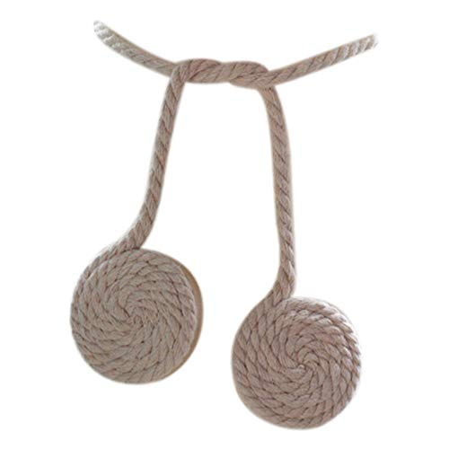 Wimagic 2 Stück magnetische Vorhang-Klammern im Pastorale-Stil r& Holz Ball Baumwolle Seil Raffhalter Vorhang Raffhalter Schnalle für Zuhause Büro Dekoration, beige, Free Size
