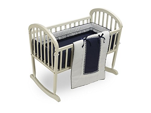 Baby Doll Bedding Royal Cradle Bedding Set, Navy
