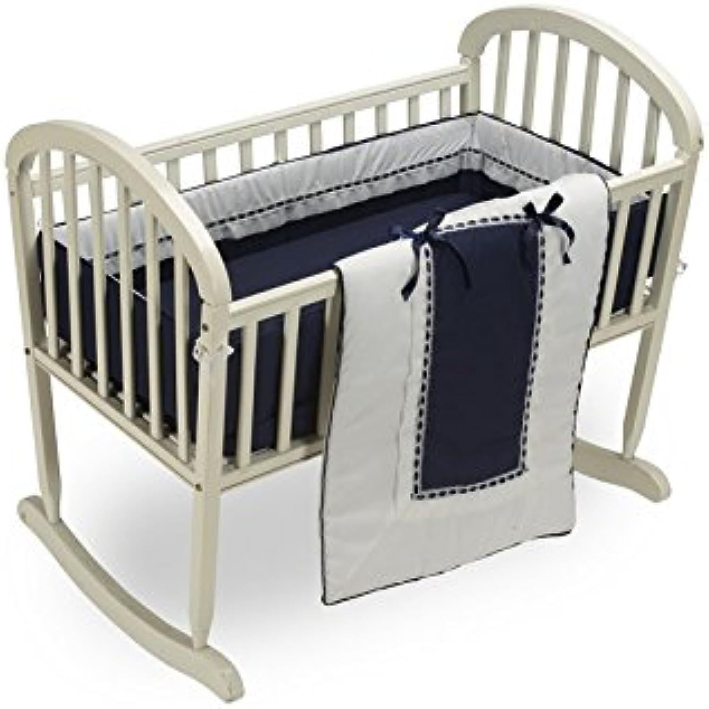 Baby Doll Bedding Royal Cradle Bedding Set, Navy