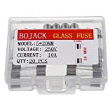 BOJACK 5x20mm 10A 10amp 250V 0.2x0.78 Inch F10AL250V Fast-Blow Glass Fuses(Pack of 20 Pcs)