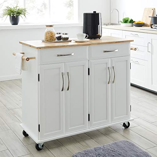 BELLEZE Rolling Kitchen Cart On Wheels Cabinet Storage Cart Island Heavy Duty Storage Rolling Trolley