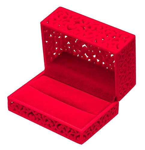 KAFITE Terciopelo Hueco Anillo de joyería Pareja Doble Portador Regalo de Compromiso para Pendientes Collar Pulsera Reloj (Color : Red)