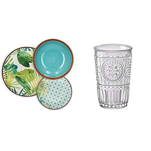 TognanaJungle –Vajilla de 18piezas, Porcelana, Multicolor, 9.12kg + Bormioli Rocco Romantic Juego de 6 Vasos 30,5 cl, Cristal Transparente, 8 x 8 x 12,5 cm