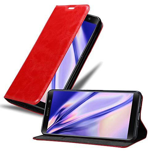 Cadorabo Hülle für Sony Xperia XA2 Plus in Apfel ROT - Handyhülle mit Magnetverschluss, Standfunktion & Kartenfach - Hülle Cover Schutzhülle Etui Tasche Book Klapp Style