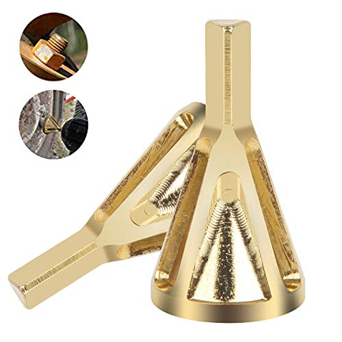 Aweohtle Entgratwerkzeug für Außenfasen, GR15 Grat Werkzeug entfernen, Fasenfräser Bohrer Zubehör, Entgraten Außenfase WerkzeugChamfer Tool Drill Bit für Metallaußendurchmesser (Gold)