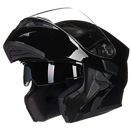 JIEKAI Helm für Motorräder Full-Face Motorcycle Helmet Tragbarer Integralhelme Flip-up Motorradhelm Zertifizierung von DOT (XL, Gloss schwarz)
