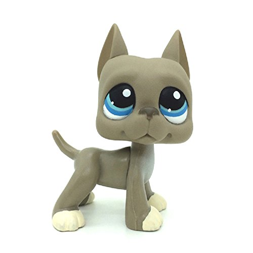 wdd Littlest Pet Shop Grey Great Dane Dog Blue Eyes LPS Toys Puppy LPS #184