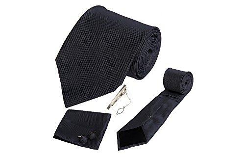 Coffret Vérone - Cravate noire, boutons de manchette, pince à cravate, pochette de costume