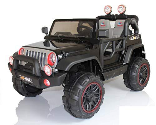 Mondial Toys Auto ELETTRICA 12V per Bambini 2 POSTI Maxi Fuoristrada con Telecomando 2.4G Soft Start AMMORTIZZATORI Full Optional HP-002 Nero