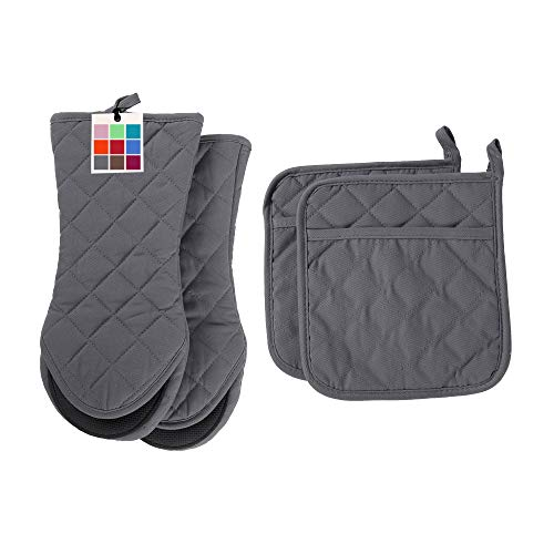 ARCLIBER Oven Mitts and Potholders,4PCS Heat Resistant Kitchen Gloves,Non-Slip Rubber Surface 2 Oven...