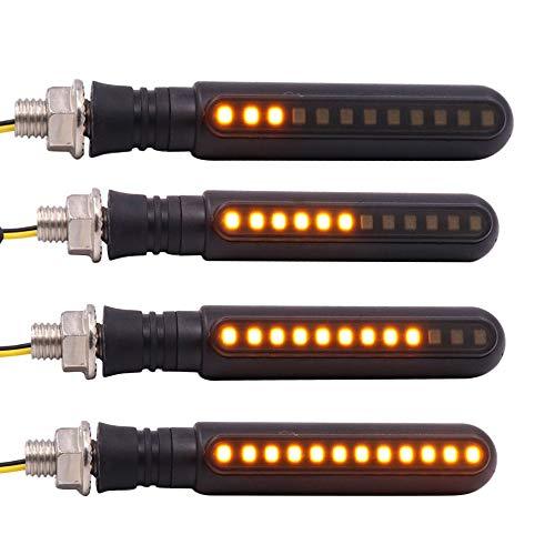 KKmoon 4pcs Luz de Señal de Giro Flujo Indicator Faros Intermitentes, 24 LED Secuencial luz indicadora de Motocicleta,Luz de Freno Trasera para UTV ATV Motocicleta
