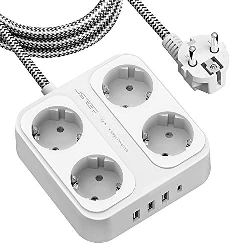 JSVER Regleta Enchufe con USB de 4 Tomas con 4 USB Puertos (3USB A+1 USB C) Protección contra Sobretensiones para el hogar, la Oficina y los Viajes Cable 1,8 m Blanco