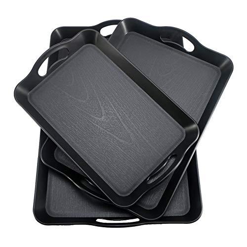 Trays Tablett mit Griff Kunststoff rechteckigen großen Hotels Restaurants for Schwarze rutschfeste Portable Schale (1 Satz von 3 Stück) dient, (Color : Black)