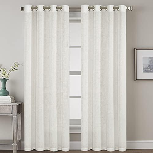 "Elegant Natural Linen Blended Energy Efficient Light Filtering Curtains/Nickel Grommet Window Treatments Panels / Drapes (Set of 2, Off White, 52"" x 96"")"