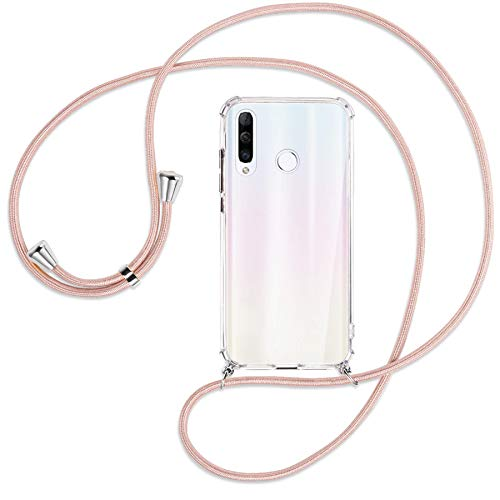 mtb more energy Collar Smartphone para Huawei P30 Lite / P30 Lite New Edition (6.15'') - Oro Rosa - Funda Protectora ponible - Carcasa Anti Shock con Cuerda