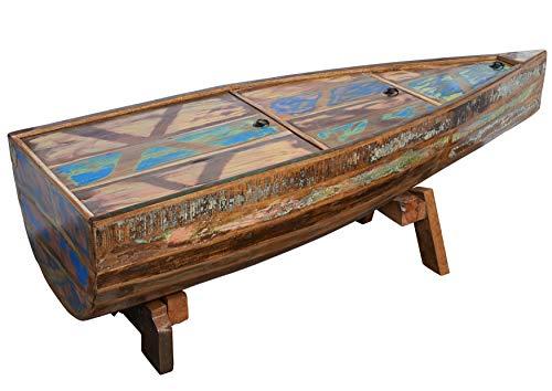MASSIVMOEBEL24.DE Table Basse Bateau - Bois Massif recyclé Multicolore laqué - Inspiration Ethnique - Nature of Spirit #106
