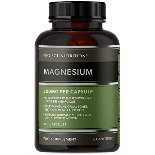 Magnesium Citrate 1400mg Supplement - 365 Vegan High Strength Capsules - Provides 400mg Elemental Magnesium - Made in The UK by Project Nutrition
