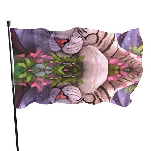 AOOEDM Bandera de jardín de Bengala-Tigre-Arte-Ojos azules-Panthera-Tigris-Tigris-Tigre blanco para exteriores, bandera de demostración - 3 x 5 pies