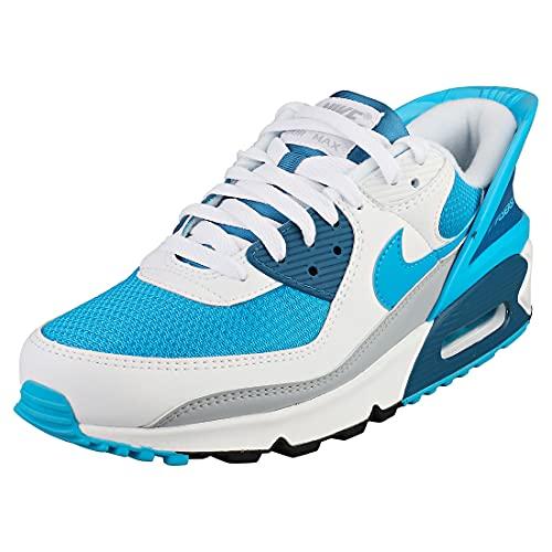 Nike Air MAX 90 FLYEASE, Zapatillas para Correr Hombre, White White Industrial Blue Laser Blue, 41 EU