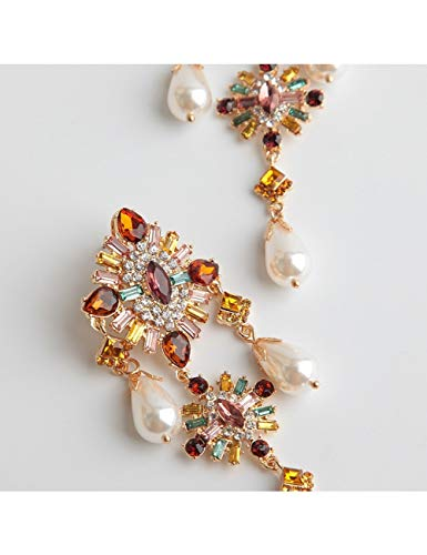 GUOZHENG Boho Pendientes De Cristal Brillante Joyas De Boda Pendientes Colgantes DeCristal Para Mujeres
