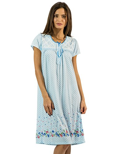 Casual Nights Women's Fancy Lace Flower Short Sleeve Nightgown - Dots/Blue - X-Large