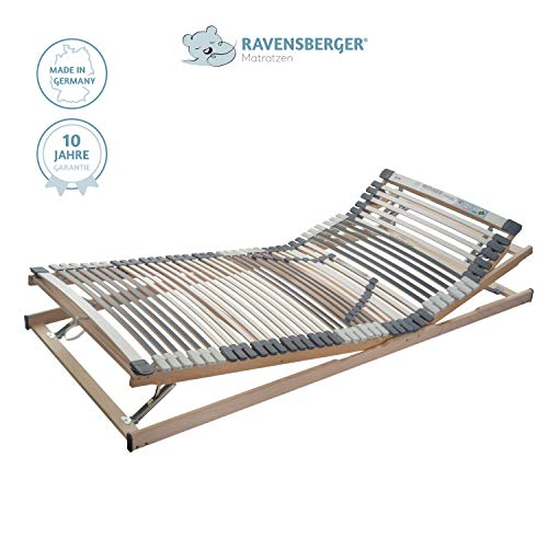 RAVENSBERGER Lattenrost Klassik (Medimed) VARIABEL 44-Leisten 7-Zonen-BUCHE-Lattenrahmen | Verstellbar | Made IN Germany - 10 Jahre GARANTIE | TÜV/GS + Blauer Engel - Zertifiziert | 140 x 200 cm