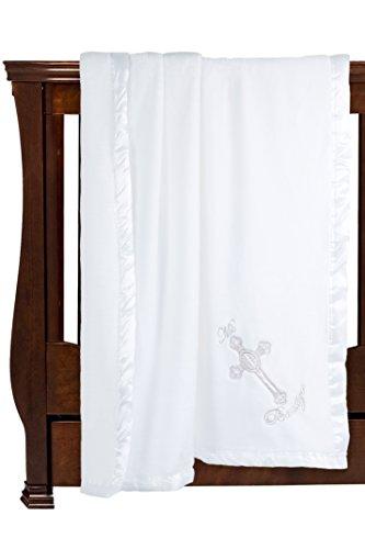 "Solaron Silky Soft Microfiber Baptism/Christening Baby Blanket Gift, Baptismal Baby Blanket 41"" x 36"" Sacred Cross"