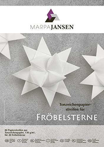 MarpaJansen Papierstreifen für Fröbelsterne - (1,5 x 45 cm, 80 Streifen, 130 g/m²) - Tonzeichenpapier - weiß