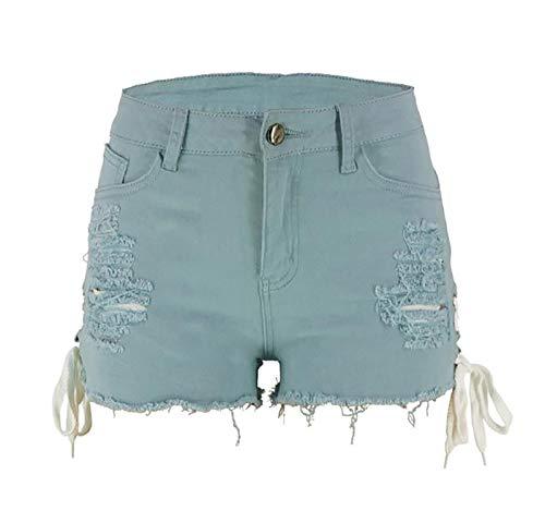 SCYDAO Pantalones Cortos De Mezclilla ROPPED ROPPED Median Median Media CUMPLADOR DE LA Taza DE LA Taza EN Ambos Lados,Light Blue,S