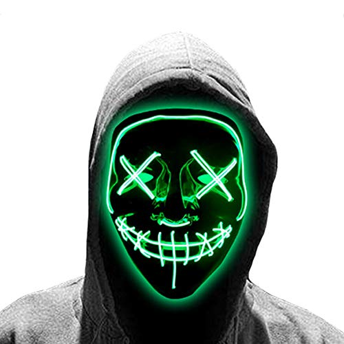 JiuXiuHeiShan-MY Máscara De Halloween LED De Halloween De Miedo Cosplay Ilumina Máscara Festival Partes para Fiestas De Halloween Encajan Adultos Niños,Verde