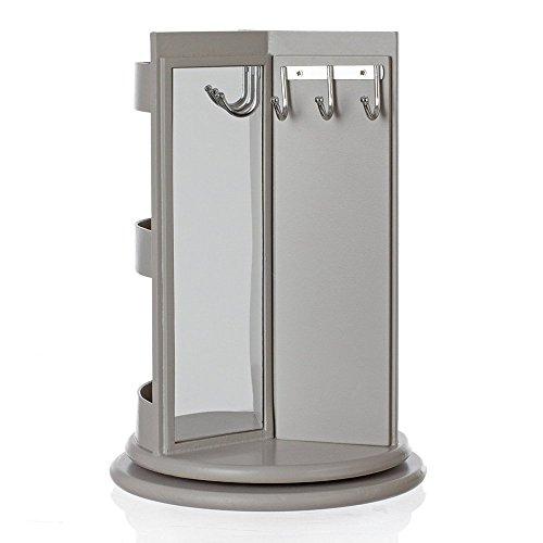 Porte bijoux présentoir à bijoux pivotant 360° avec miroir, crochets, compartiments astucieux et portants !