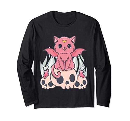 Kawaii Gato Pastel Goth Cute Creepy Demon Cat and Skull Manga Larga