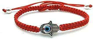 Treasure4U-store Braided Red String Kabbalah Bracelet Rotating Evil Eye Lucky Hamsa Hand Protection Amulet Adjustable
