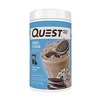 Quest Nutrition Cookies & Cream Protein Powder High Protein Low Carb Gluten Free Soy Free 25.6 Ounce  Pack of 1