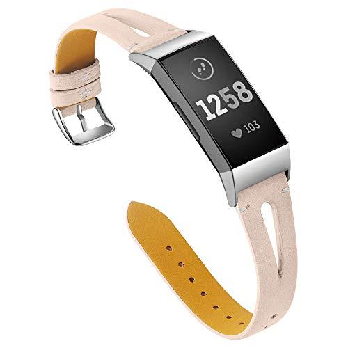 Aottom für Armband Fitbit Charge 3 Leder, Lederarmband Fitbit Charge 3 Armband Charge 3 SE Fitbit Band Gliederarmband Ersatzarmband Uhrenarmband Fibit Armband Charge 3 für Fitbit Charge 3