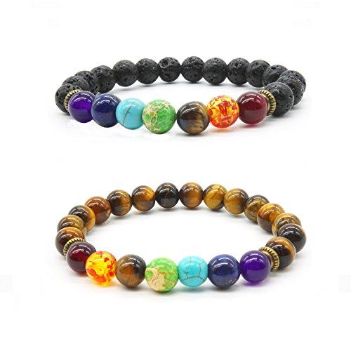 2 x Lava Stone Diffuser Armband 7 Chakra Natürlich Tiger Augen Stein Reiki Healing Einstellbar Ruhiges Yoga Meditation Armband