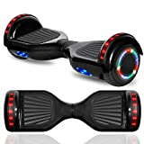 """cho New Hoverboard Electric Smart Self Balancing Scooter with Built-in Wireless Speaker 6.5"""" LED Wheels and Side Lights Safety Certified (Solid Black)"""