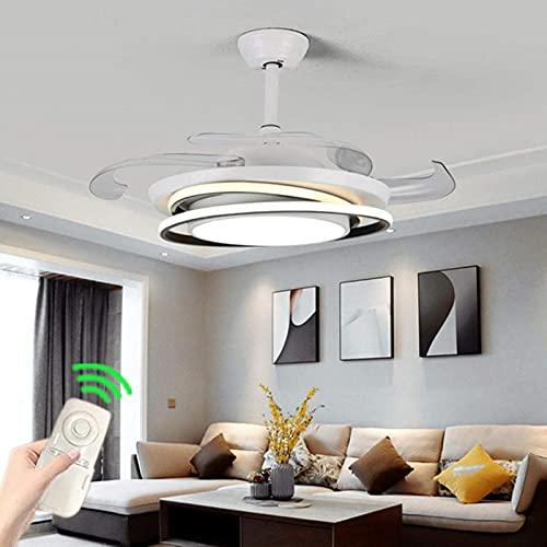 Luz de techo moderna con ventiladores Hojas retráctiles de control remoto para sala de estar de sala de estar, con motor silencioso