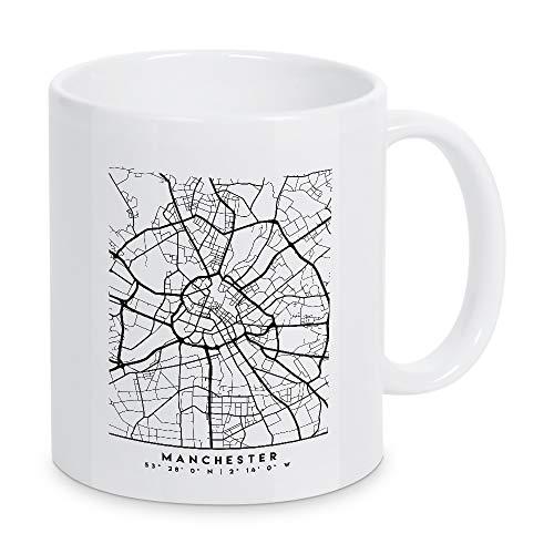 artboxONE Tasse Manchester England City MAP von Emiliano Deificus - Kaffeetasse Schwarzweiß